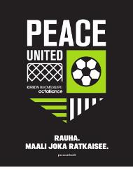 Peace United A3-juliste, pdf. Teksti Rauha - maali joka ratkaisee. Julisteen alareunassa valkoinen tila kirjoittaa oman tapahtuman tietoja.