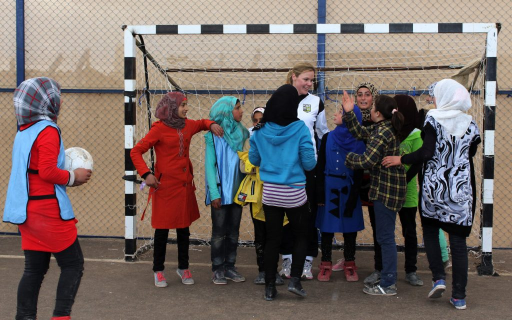 Football practise at Zaatari refugee camp.
